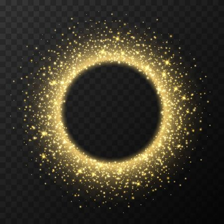 Golden circle frame with sparkles and flares, abstract luminous particles, yellow stardust light effect isolated on a dark background. Xmas glares and sparks. Luxury backdrop. Vector illustration.