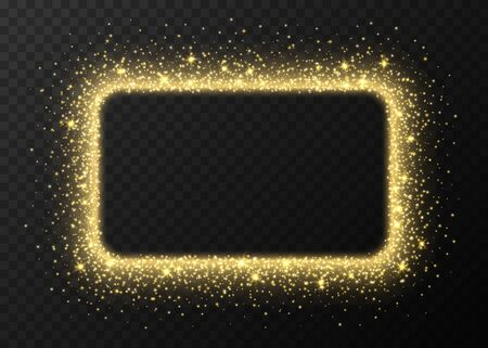 Golden rectangle frame with sparkles and flares, abstract luminous particles, yellow stardust light effect isolated on a dark background. Xmas glares and sparks. Luxury backdrop. Vector illustration.
