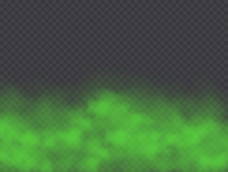 Green fog, bad smell or toxic smoke cloud isolated on transparent background. Realistic smog, haze, mist or cloudiness effect. Realistic vector illustration.