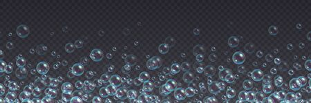 Flying soap bubbles background. Abstract floating shampoo, bath lather isolated on a transparent backdrop. Realistic suds vector illustration.