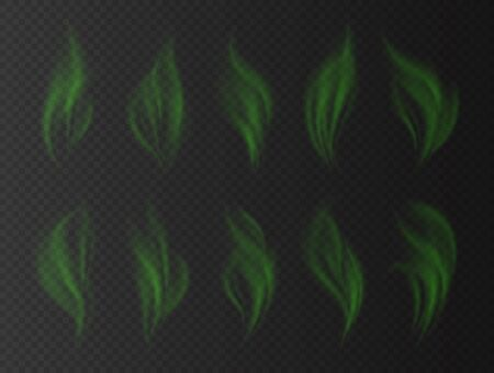 Realistic green smoke, bad smell concept, transparent effect. Toxic stinky clouds. Green fume isolated on a dark background. Vector illustration.