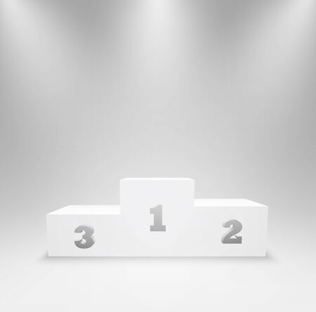 Pedestal for winners with first, second, and third places. Podium for an award ceremony, stand for contest winners and champions. 3d platform isolated in studio lighting. Vector illustration.
