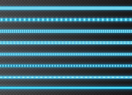 Blue LED strips collection, bright luminous ribbons isolated on a transparent background. Realistic neon lights, illuminated decoration tapes set. Vector illustration.