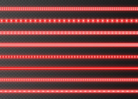 Red LED strips collection, bright luminous ribbons isolated on a transparent background. Realistic neon lights, illuminated decoration tapes set. Vector illustration.