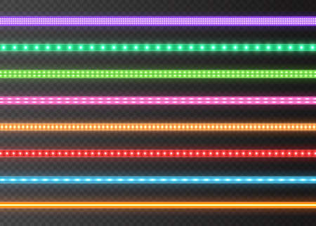Colorful LED strips collection, bright luminous ribbons isolated on a transparent background. Realistic neon lights, illuminated decoration tapes set. Vector illustration.