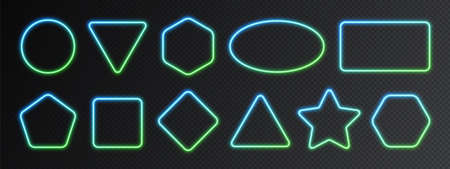 Neon gradient frames set, collection of blue-green glowing borders isolated on a dark background. Colorful night banners, bright illuminated shapes, vector light effect.