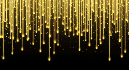 Falling stars, glitter rain, golden star dust, bright yellow sparkles isolated on a dark background. Christmas decoration, abstract falling shiny particles, isolated vector light effect. Luxury decor.