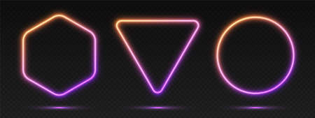 Neon gradient frames set, collection of orange-purple glowing borders isolated on a dark background. Colorful night banners, vector light effect. Circle, triangle, and hexagon, bright shapes.