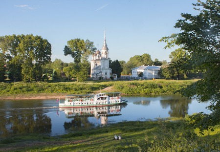 The ship floats on the river Vologda Stock Photo