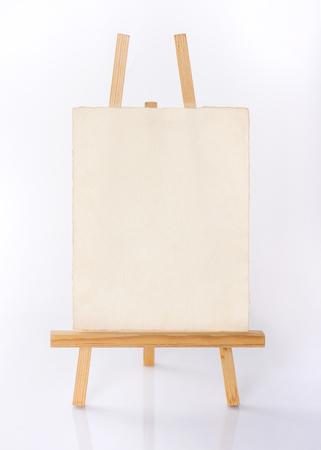 easel: Painting stand wooden easel with blank canvas poster sign board isolated