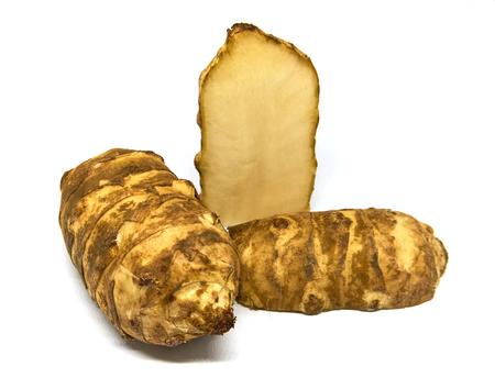 inulin: Jerusalem artichoke with white Stock Photo