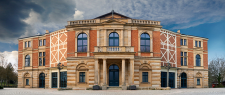 Wagner Festival Theatre in Bayreuth at daylight near sunset