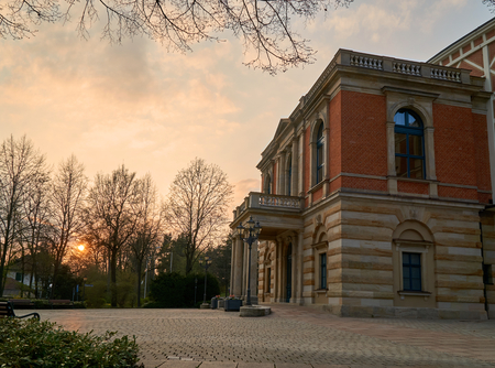 acoustics: Wagner Festival Theatre in Bayreuth at daylight near sunset - side view Editorial