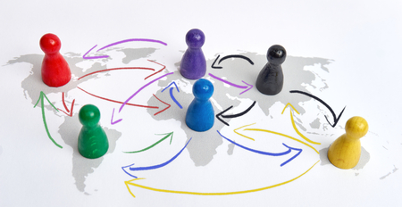 Concept for globalization and global networking with drawn arrows.