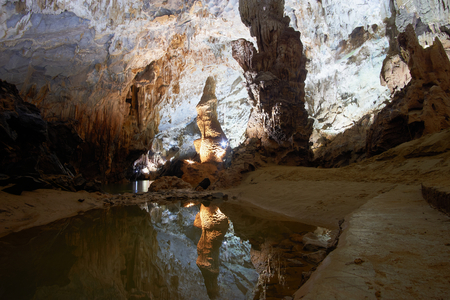 Artificially highlighted limestone formations in the cave named Paradise. Phong Nha region of Vietnam