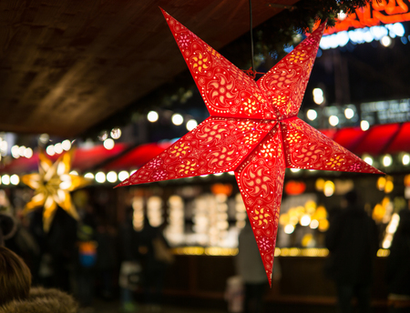 Star Christmas Paper Lantern on a christmas market