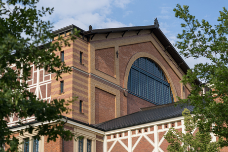 Detail shot of the famous bayreuth wagner festival theatre from the side.