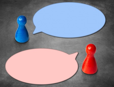 Game figures with round speech bubbles with blackboard backgroun