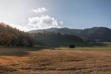Idyllic landscape in the Alps with meadows in the autumn at sunset.