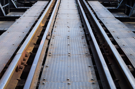 upperdeck view: Straight railroad track Stock Photo