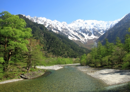 ridgeline: The clear stream  Azusa River  of Kamikochi