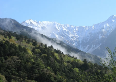 Morning mist of Kamikochi Stock Photo