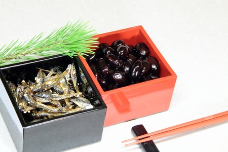 engraulis: Japanese New Year holidays dish _ black soybean and small sardine dish