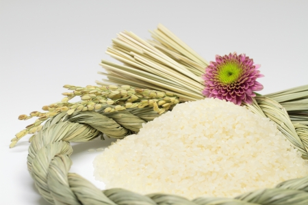festoon: Polished rice and Shinto straw festoon decoration Stock Photo