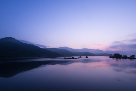 Blue time of the daybreak  The break of day of the Lake Akimoto in Fukushima, Japan photo