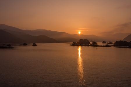Beautiful sunrise The sunrise of the Lake Akimoto of Fukushima, Japan