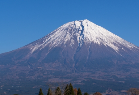snowcapped: Majestic snow-capped mount Fuji in early morning Stock Photo