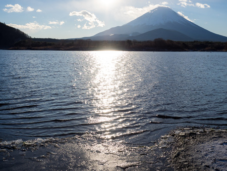 ridgeline: Surface of the Lake Shojinko shining in the morning sun at the foot of Fuji