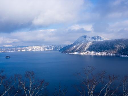 Beautiful blue Lake Mashu in Hokkaido Stock Photo