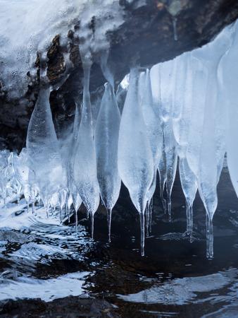 Beautiful icicle of the Lake Kusshiyaro shore