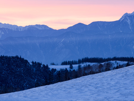 ridgeline: Mountain range dyed beautiful colors after the sunset