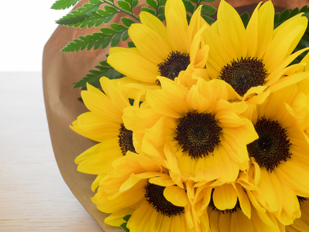 spirited: Bright yellow sunflower bouquet