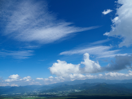 The view and sky and clouds from the Kiyosato Plateau in Yamanashi Stock Photo