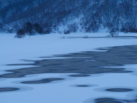 Winter morning of Akimoto lake in Fukushima, Japan Stock Photo