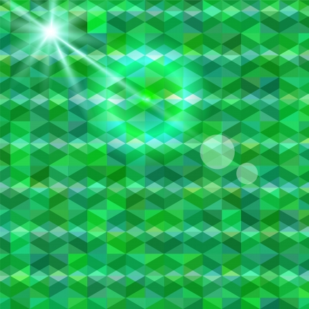 Abstract geometric background shades of green with light and highlights Illustration