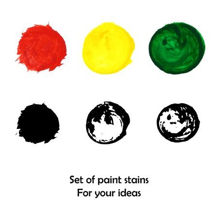 peinture blanche: Taches de peinture color�e et noir et blanc serti Illustration