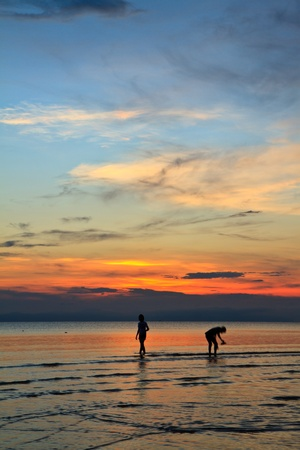 A woman walk a man during as they watch the sunset photo