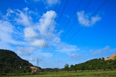 high voltage post High-voltage tower sky and mountain background  Stock Photo - 13508410