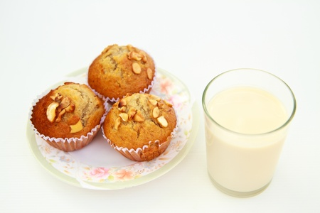brown cupcakes and soybean milk photo