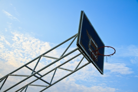 Old Basketball Basket and blue sky photo