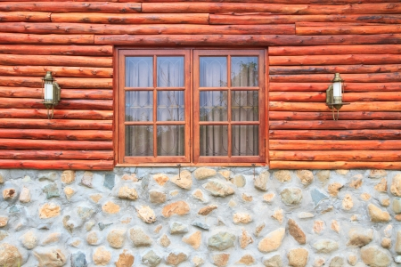 window , wood and rock wall photo