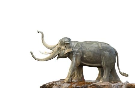 Elephant statue  isolated against white background  photo
