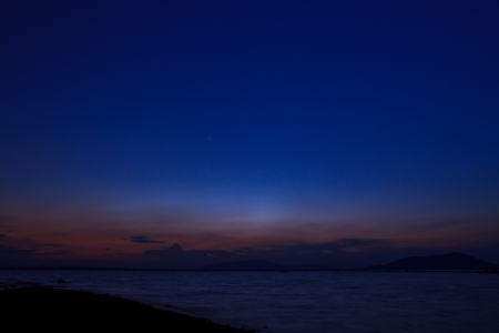 Beautiful sunset by the dam photo
