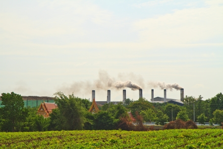 factory and smoke with baby corns at the background photo