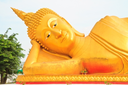 Buddha image and blue sky photo