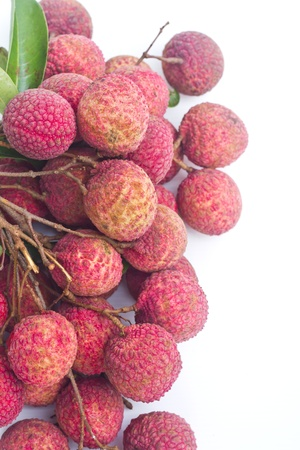 Litchi chinensis Sonn ,Bunch of lichee  on white Stock Photo